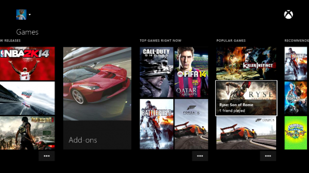 Xbox One Dashboard Games