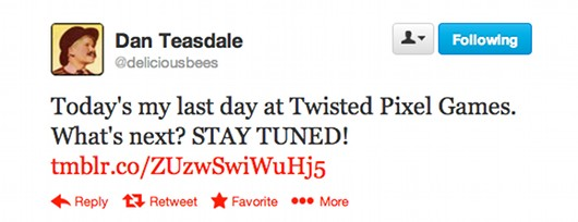 Dan Teasdale leaves Twisted Pixel
