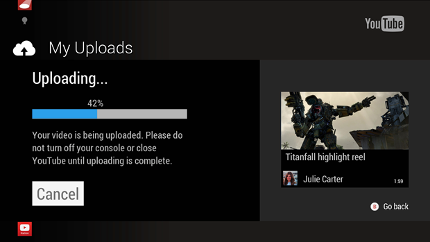 YouTube update on Xbox One simplifies uploading