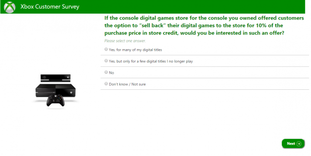 Xbox One digital games sell back survey