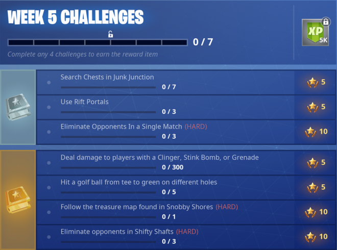 there s only one challenge out of the ordinary on this list and it s simple let s take a look at the week five list of challenges - fortnite weekly challenges list